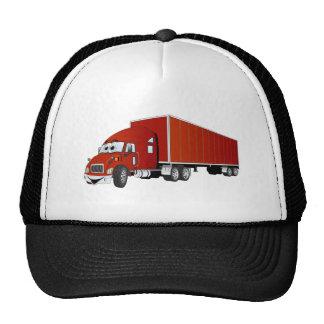Semi dibujo animado rojo del remolque del camión gorro de camionero