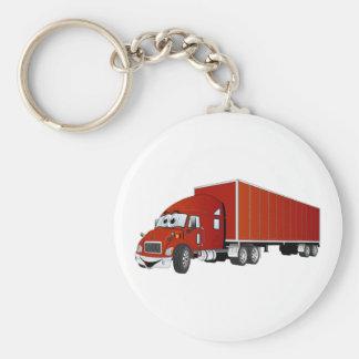 Semi dibujo animado rojo del remolque del camión llavero redondo tipo pin