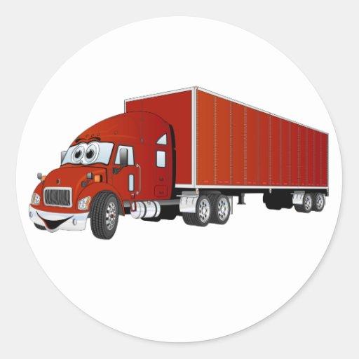 Semi dibujo animado rojo del remolque del camión pegatina redonda