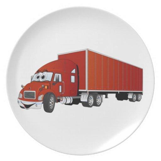 Semi dibujo animado rojo del remolque del camión platos de comidas