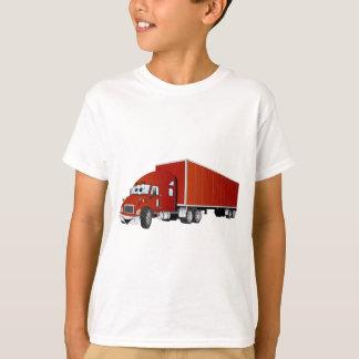 Semi dibujo animado rojo del remolque del camión playera