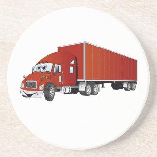 Semi dibujo animado rojo del remolque del camión posavasos diseño