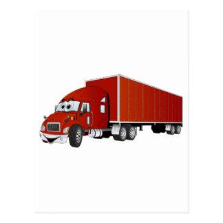 Semi dibujo animado rojo del remolque del camión postales