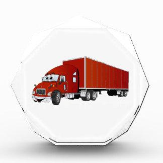 Semi dibujo animado rojo del remolque del camión
