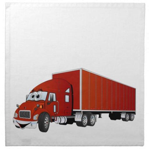 Semi dibujo animado rojo del remolque del camión servilleta imprimida