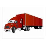 Semi dibujo animado rojo del remolque del camión postal