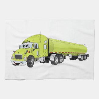 Semi dibujo animado verde claro del camión de toalla
