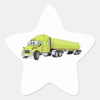 Semi dibujo animado verde claro del camión de pegatina en forma de estrella