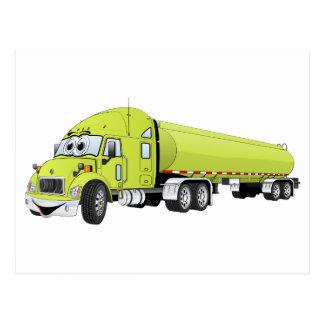 Semi dibujo animado verde claro del camión de tarjeta postal