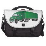 Semi dibujo animado verde del remolque del camión bolsas de portátil