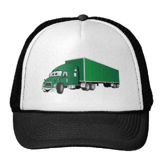 Semi dibujo animado verde del remolque del camión gorros