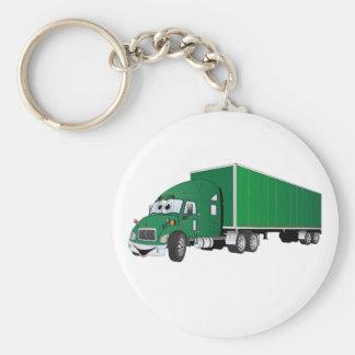 Semi dibujo animado verde del remolque del camión llavero redondo tipo pin
