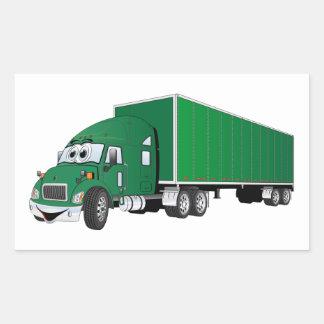 Semi dibujo animado verde del remolque del camión pegatina rectangular