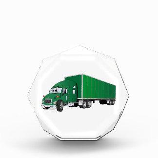 Semi dibujo animado verde del remolque del camión
