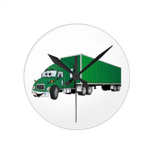 Semi dibujo animado verde del remolque del camión relojes de pared