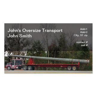 Semi hauling oversized concrete power pole business card