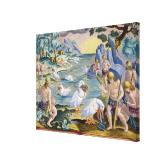 Semi-Naked Savages of India Using Pelicans to Catc Gallery Wrap Canvas