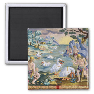 Semi-Naked Savages of India Using Pelicans to Catc Magnet