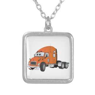 Semi naranja del taxi del camión collar plateado