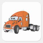 Semi naranja del taxi del camión pegatina cuadrada