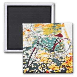 Semi-negative bicycle on ginkgo leaves magnet
