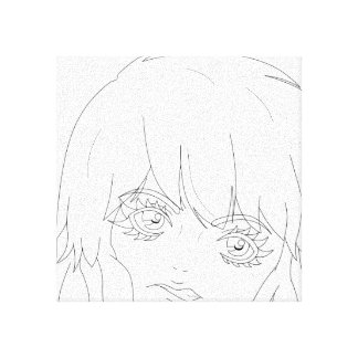 "Semi-Realistic Anime girl lineart 12"" x 12"" Canvas"