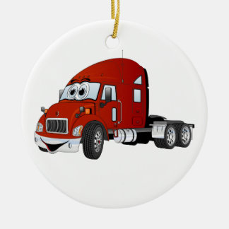 Semi rojo del taxi del camión adorno navideño redondo de cerámica