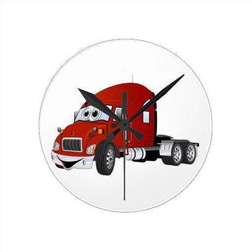 Semi rojo del taxi del camión reloj