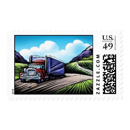 Semi sellos escénicos del conductor de camión