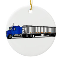 Semi Tractor Trailer Ceramic Ornament