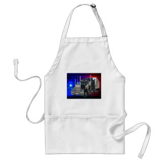 SEMI TRACTOR TRAILER WITH POLICE LIGHTS BACKGROUND ADULT APRON