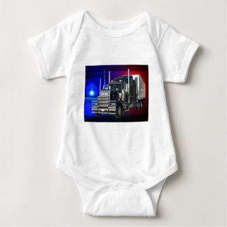 SEMI TRACTOR TRAILER WITH POLICE LIGHTS BACKGROUND BABY BODYSUIT