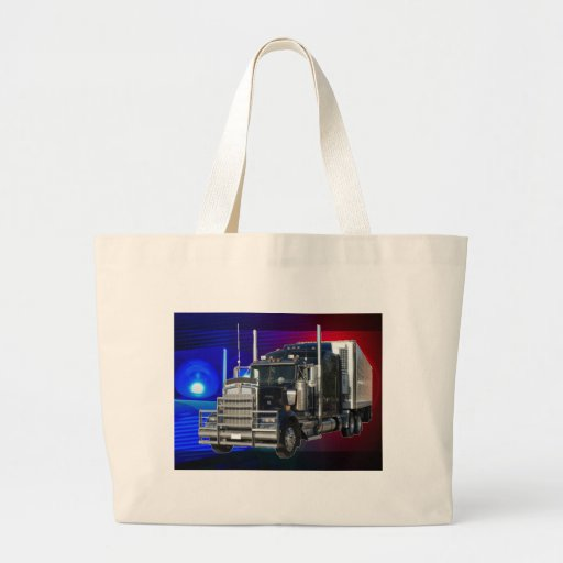 SEMI TRACTOR TRAILER WITH POLICE LIGHTS BACKGROUND TOTE BAGS