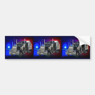 SEMI TRACTOR TRAILER WITH POLICE LIGHTS BACKGROUND BUMPER STICKER