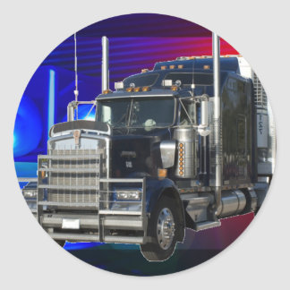 SEMI TRACTOR TRAILER WITH POLICE LIGHTS BACKGROUND CLASSIC ROUND STICKER