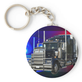 SEMI TRACTOR TRAILER WITH POLICE LIGHTS BACKGROUND KEYCHAIN