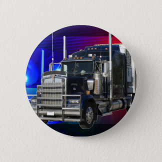 SEMI TRACTOR TRAILER WITH POLICE LIGHTS BACKGROUND PINBACK BUTTON