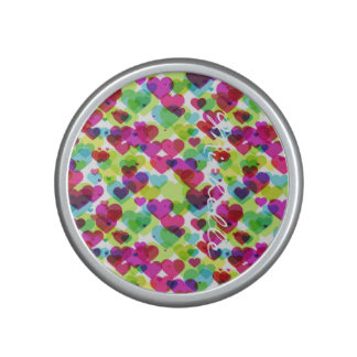 semi transparent colorful hearts with name speaker