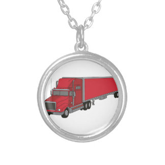 Semi-Truck 1 Silver Plated Necklace