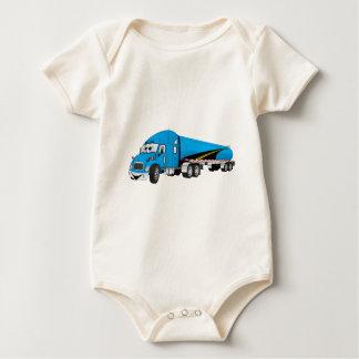 Semi Truck Blue Tanker Trailer Cartoon Baby Bodysuit