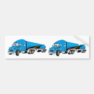 Semi Truck Blue Tanker Trailer Cartoon Bumper Sticker
