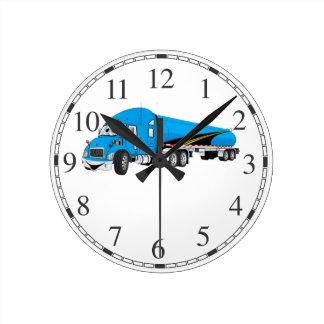 Semi Truck Blue Tanker Trailer Cartoon Round Clock