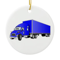 Semi Truck Blue Trailer Cartoon Ceramic Ornament