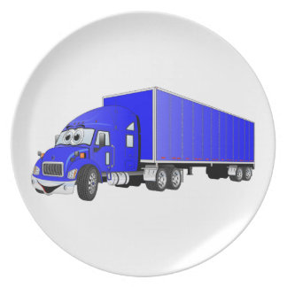 Semi Truck Blue Trailer Cartoon Dinner Plate