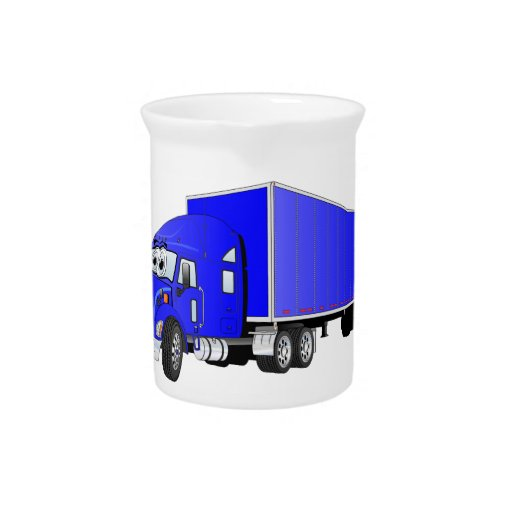Semi Truck Blue Trailer Cartoon Drink Pitchers