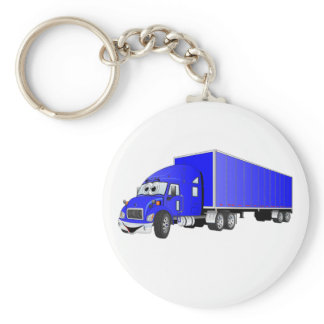 Semi Truck Blue Trailer Cartoon Keychain