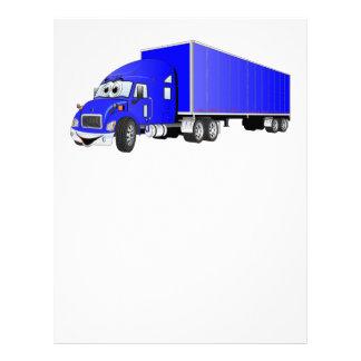 Semi Truck Blue Trailer Cartoon Letterhead