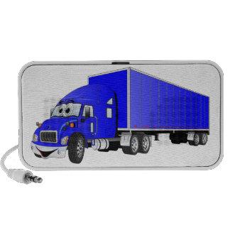 Semi Truck Blue Trailer Cartoon Mini Speaker