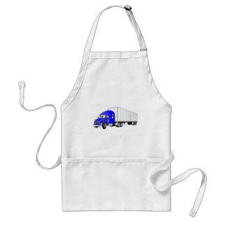 Semi Truck Blue White Trailer Cartoon Adult Apron