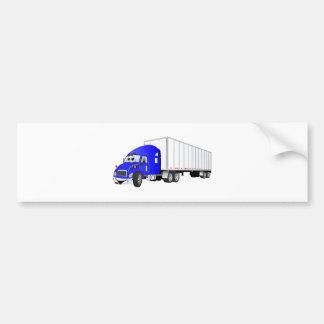 Semi Truck Blue White Trailer Cartoon Bumper Sticker